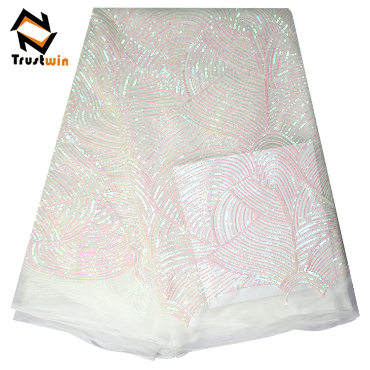Trustwin African lace fabrics 5 yards tulle dentelle in white color for birthday party dress