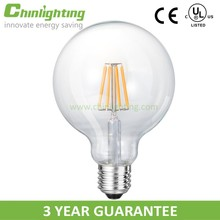 CE RoHS listed Warm White 360 Degree E27 G95 5W 7W Led Filament Bulb,energy saving led lamp