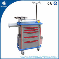 China BT-EY001 Cheap hospital ABS plastic emergency trolley price, medical resuscitation trolley, surgical treatment trolley