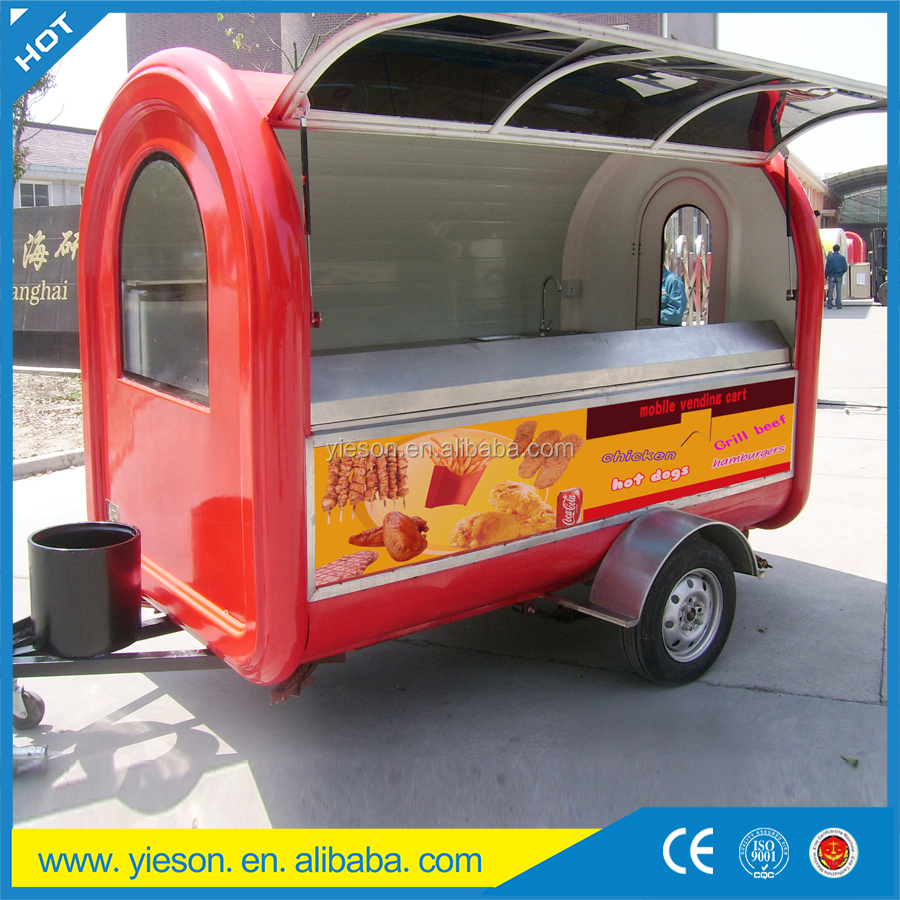 Fiberglass food trucks used food concession trailer for sale BBQ mobile food trailer with CE