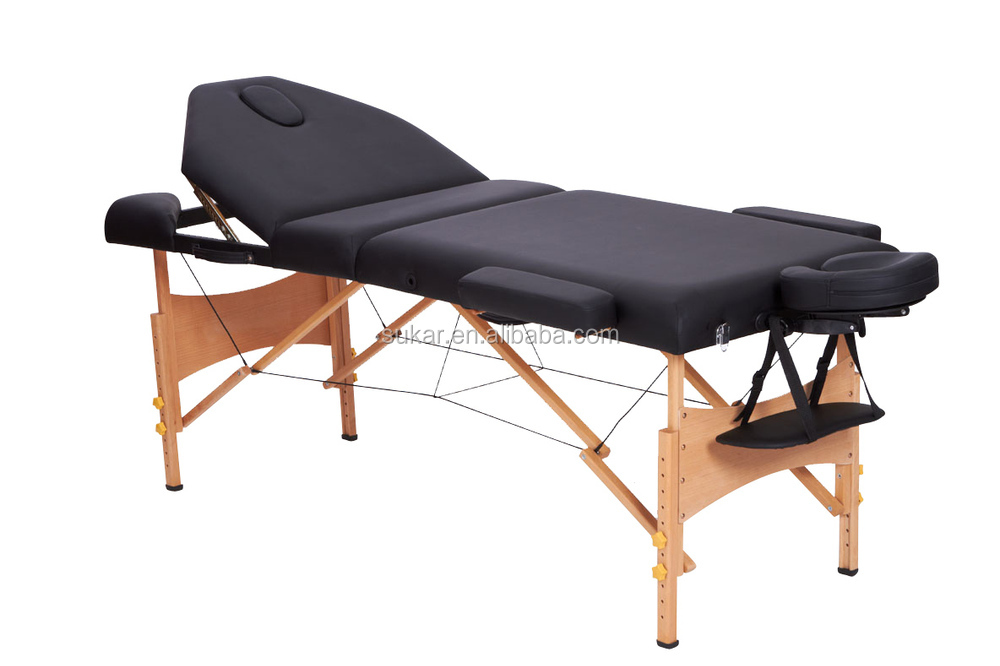 Full Body Massage Bed 3 Section Wooden Table