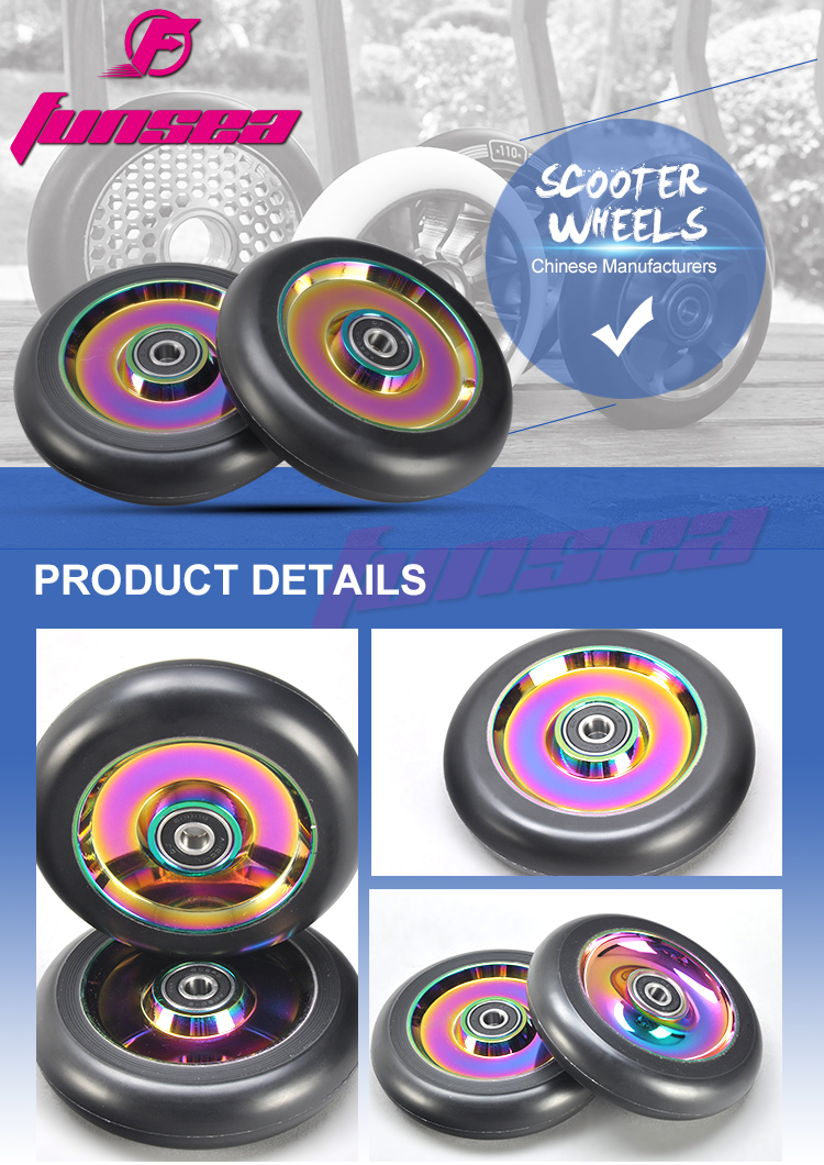 Customizable Multicolor new design RX-FSW-01 OEM 100mm Logo PVD Purple/Black adult wide wheel scooter scooter wide wheel