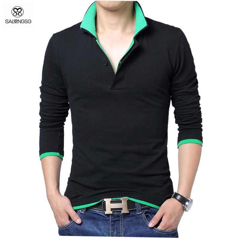 2015 New Solid Polo Shirt Men Luxury Polo Shirts Long Sleeve Men's Basic Top Cotton Polos For Boys Brand Designer Polo Homme 5XL