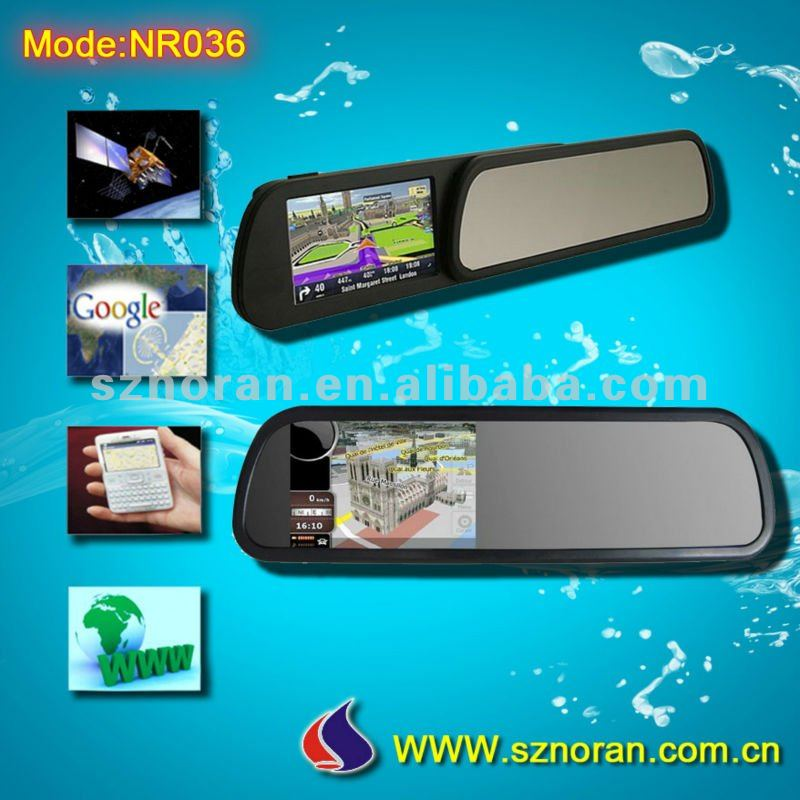 Rearview Parking Mirror with GPS Navigation, GPS Tracker