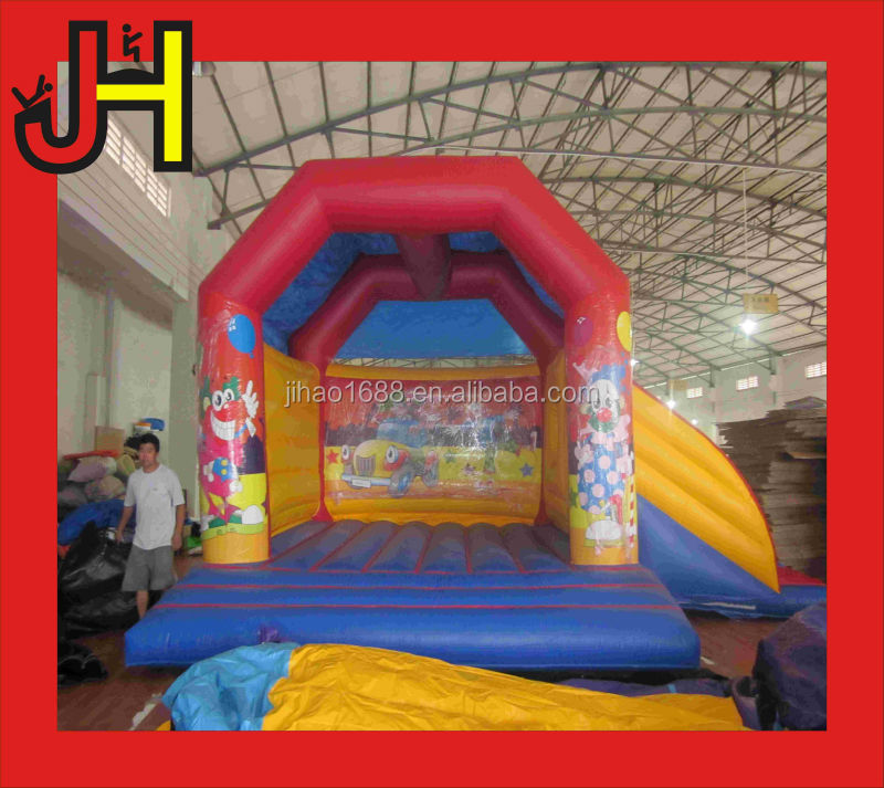 Clown character inflatable slide, combo with bouncer for indoor park