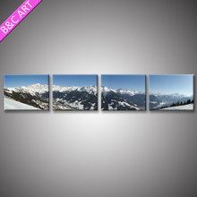 4 Panels Modern Canvas Painting Snow Mountain Nature Scenery Print Art With Frames