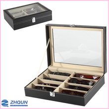 Black leather 8 slot Glass lid sunglasses boxes with latch