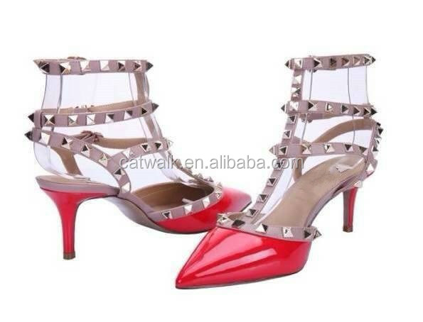 Two Adjustable Straps Gold Rivets Girls Leather Shoes Sling Back Ladies High Heel Shoes Cutomize Women Heels Shoes