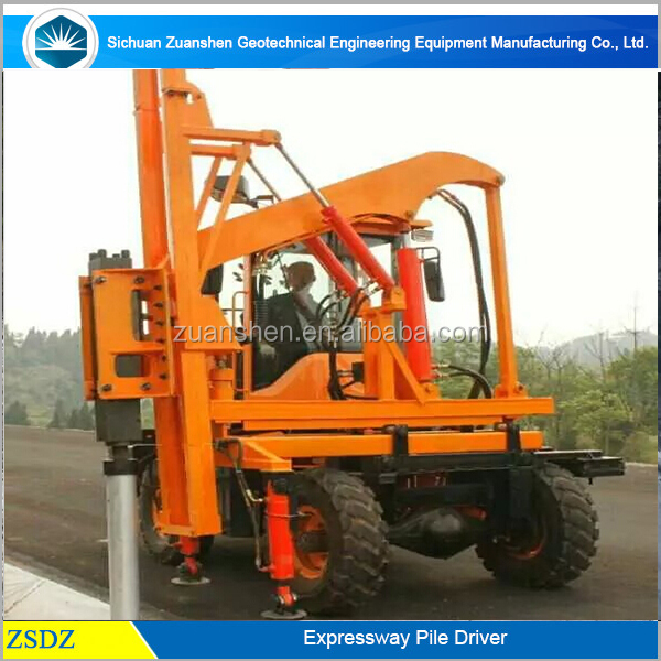 Road Guardrail Installation Hydraulic Pile Driver with air compressor