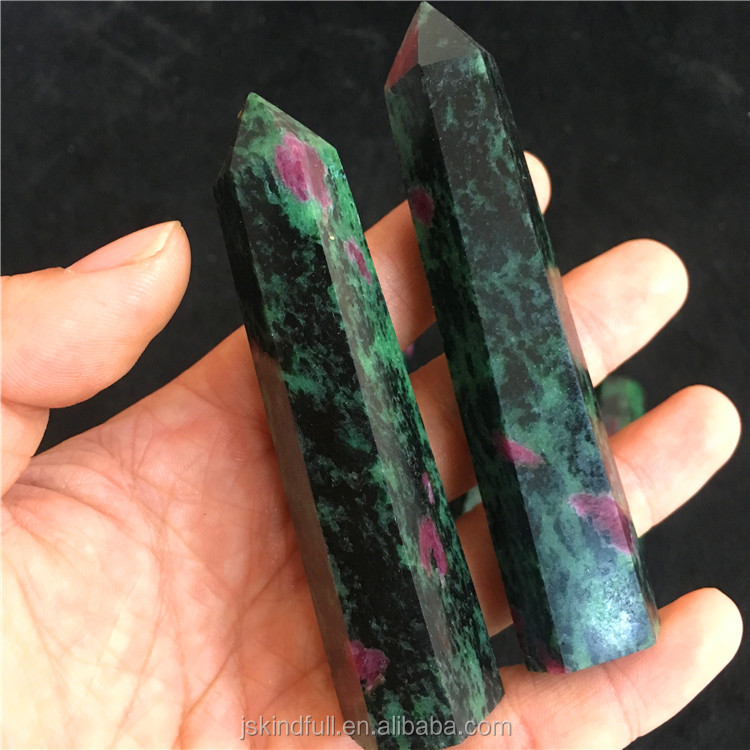 Wholesale Natural Morganite Quartz Raw Crystal Points Wands Red and green Crystal Points