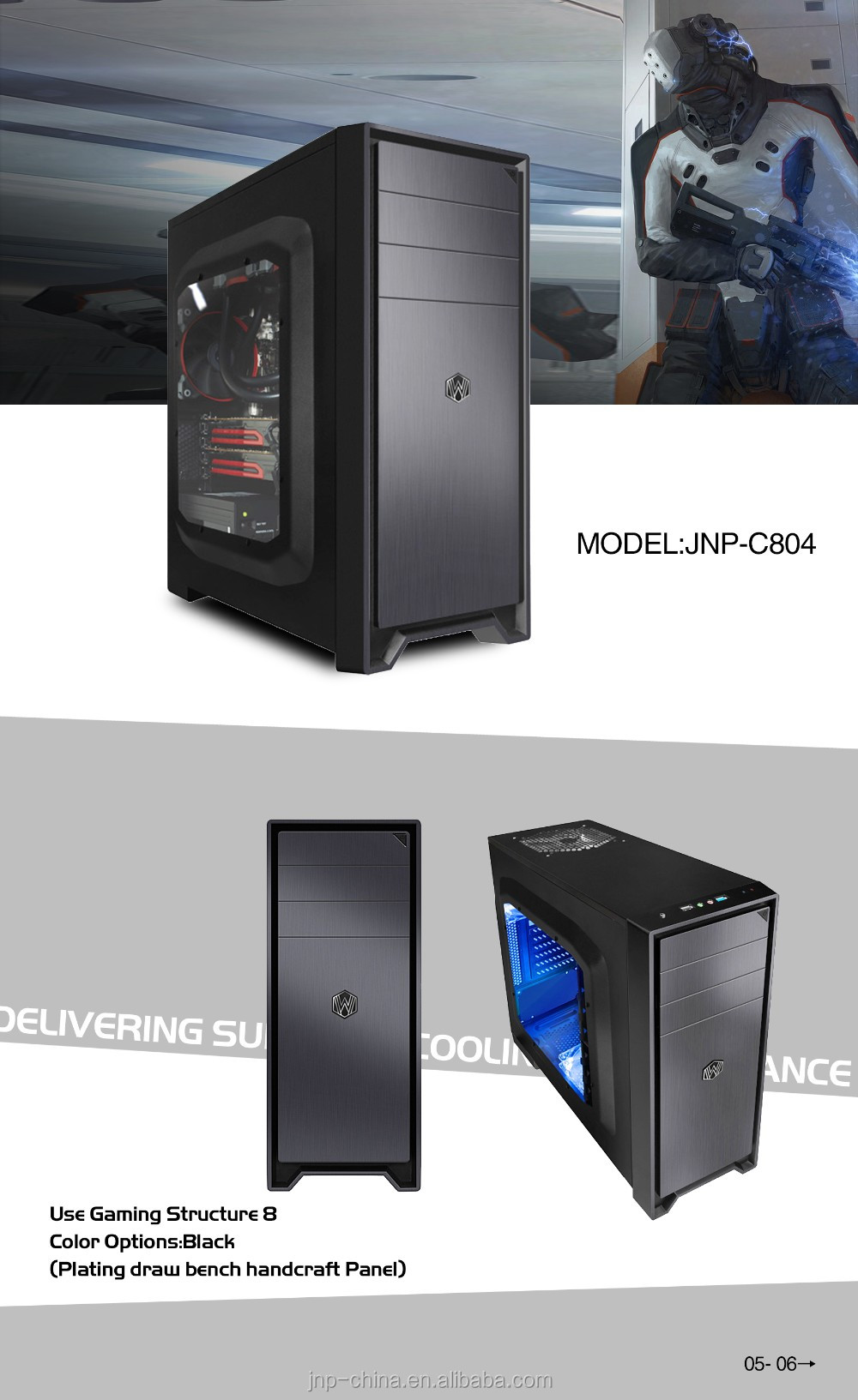 Modern ATX Tower Computer Gaming Case and Tower with 4 USB ports