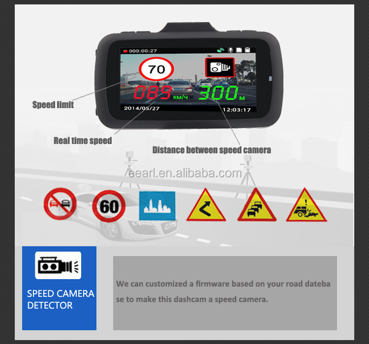 2.7 Inch 1296P Ambarella A7 Manual Car Camera HD DVR GPS Speed Warning