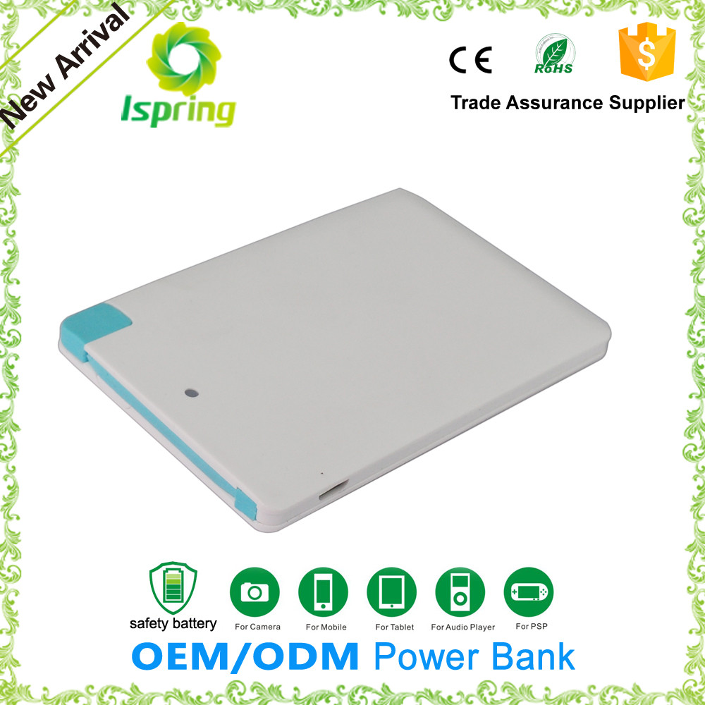 2015 hot selling super slim power bank 2600mah for samsung s6 iphone 6 5 5s ipad air
