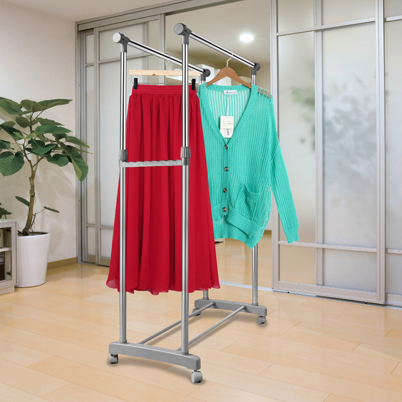 Heavy Duty Double Rail Adjustable Telescopic Rolling Clothing Garment Rack