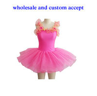 lovely stage ballet tutu costumes summer,sleeveless tulle dress,cherry pink team performance dancewear