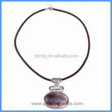 Wholesale Amethyst Cabochon Semi-Precious Gemstone Simple Charm Choker Necklaces GN-DQ065