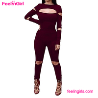 Long Red Wine Hollow Out Sexy One piece Adult Romper Pattern