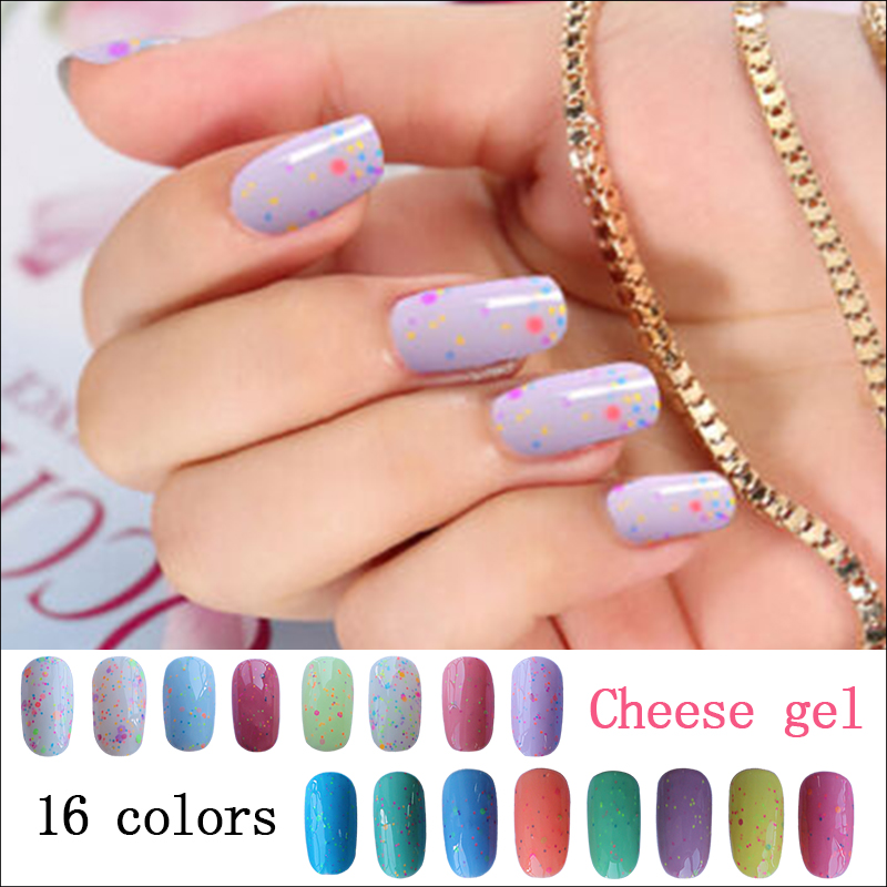 New arrival high quality free sample 16 colors cheese uv nail gel polish