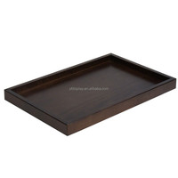 Rectangular Dark Finished Wood Serving Tray