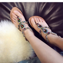 pasha style Ladies Jewelry Sandal Flat sole Leather Ankle Strap Summer Shoes with rhinestone