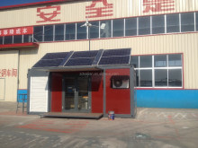 Telescopic Container house with solar and wind energy/equipped with hydraulic system/with bath room and kitchen