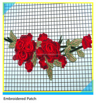 Hand made 3D Embroidered flower Patches Embroidery Rose Applique For Girl's Dresses
