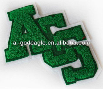 Chenille patches for clothing with laser-cut border heat seal backing excellent quality