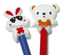 custom plastic PVC pencil caps, custom pencil topper