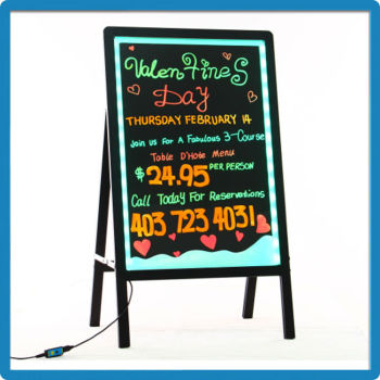 Factory direct 80*60 aluminium alloy frame acrylic neon signs led writing sandwich board