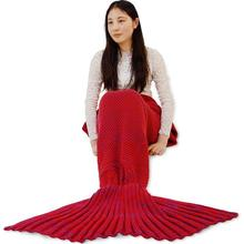Warm Light Fish Blanket Adult Mermaid Tail Blanket For Watching TV Wearable Fashionable acrylic mermaid blanket