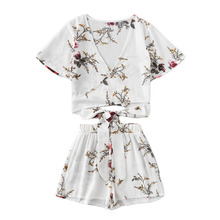 2018 Women Floral Print Tops with Shorts Two Pieces Suit