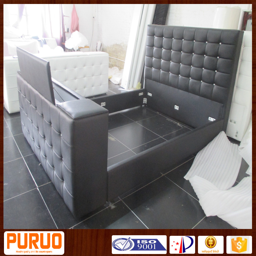 C028# queen size king size luxury bedroom bed with TV in footboard