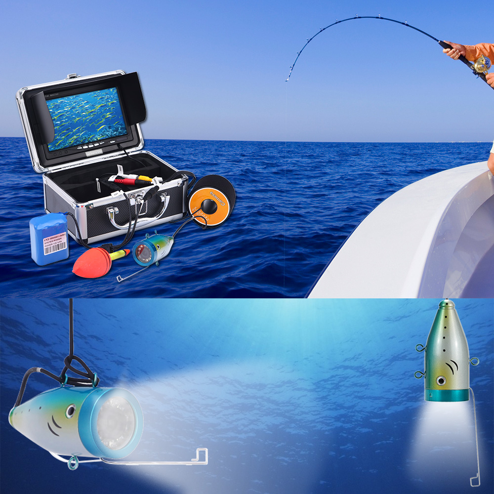 KKMOON 50M Underwater Fish Finder HD 1200TVL Camera for Ice/Sea/River Fishing with 7in LCD Monitor