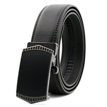Black Width 35mm Men's Leather Covered Automatic Buckle Real Leather Belt