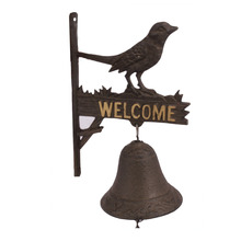 Antique cast iron metal art and craft bird welcome door hanging bell for garden decoration