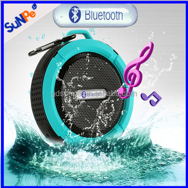 Outdoor shower waterproof music player bluetooth speaker with suction cup and hook