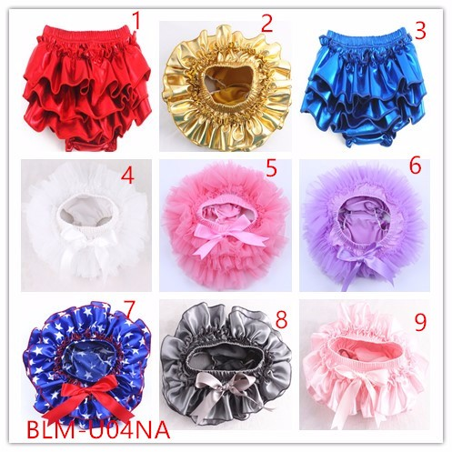Wholesale various style infant ruffle butt bloomers stain chiffon comfortable fashion solid color baby bloomers