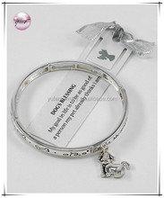 "Animal / Antique Silver Tone / Lead Compliant / Message & Dog Charm Stretch Bracelet / ""my Goal In Life Is To Be As Good Of A Pe"