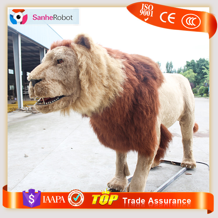 Wild Zoo Soft Furry Life-size animatronic Lion animals of Animated Large Fiberglass With Sound
