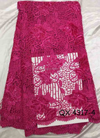 QX4316-4 high quality african sequin lace fabric fuschia lace guipure fabric for dress