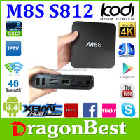 Dragonbest android 4.4 quad core S812 media player 2gb ram live streaming tv box M8S ott tv box