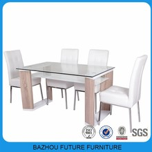 UAE home centre supplier wholesale wooden frame top glass dining table