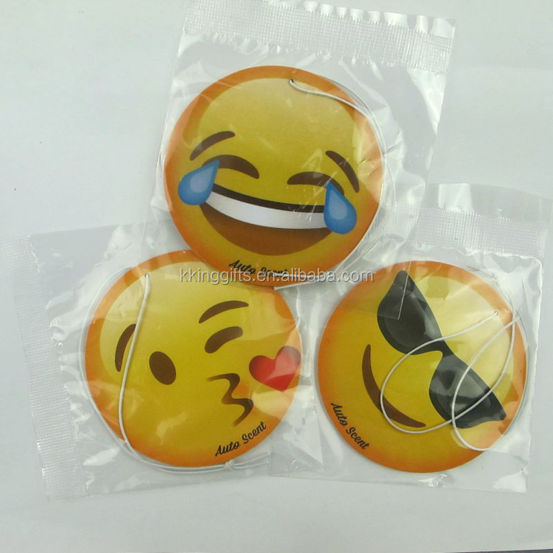 Customized Eco-Friendly Automobile Hanging Auto Sanis Paper Emoji Air Freshener Hanging For Home Office Hotel