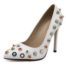 SAA40187 Luxury colorful rhinestone pointed toe ladies stiletto elegant shoes