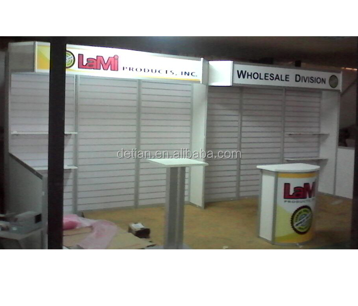 exhibition design service, free design exhibition booth modular , slot/ slat wall exhibition booth