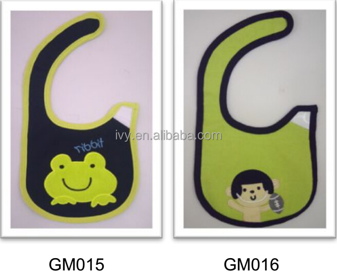 waterproof 3D printed & embroidery applique baby bib cotton jersey soft bibs