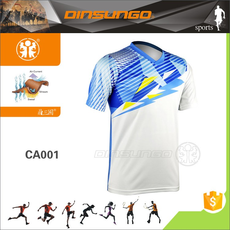 custom high quality dry fit quick dry badminton wear jersey with free design DINSUNGO CA001