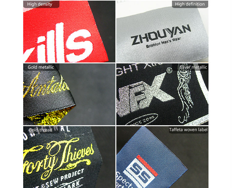 heat cut center fold  woven label in your logo