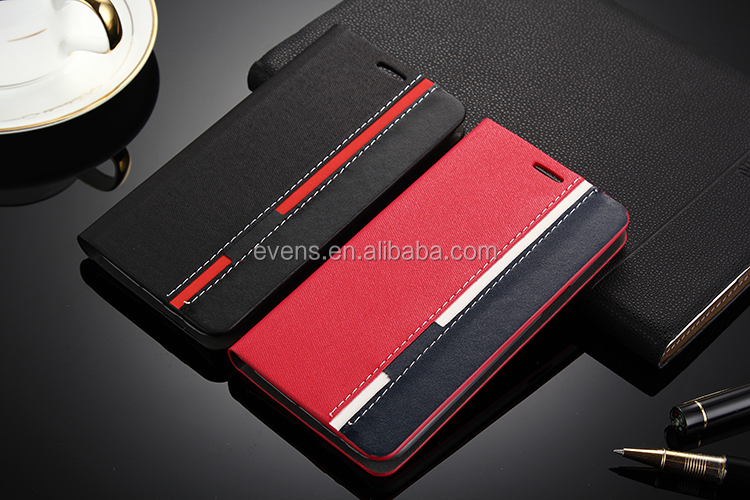 Contrast color Fashion PU Leather Wallet Flip Mobile Phone Case Cover For Lenovo P770