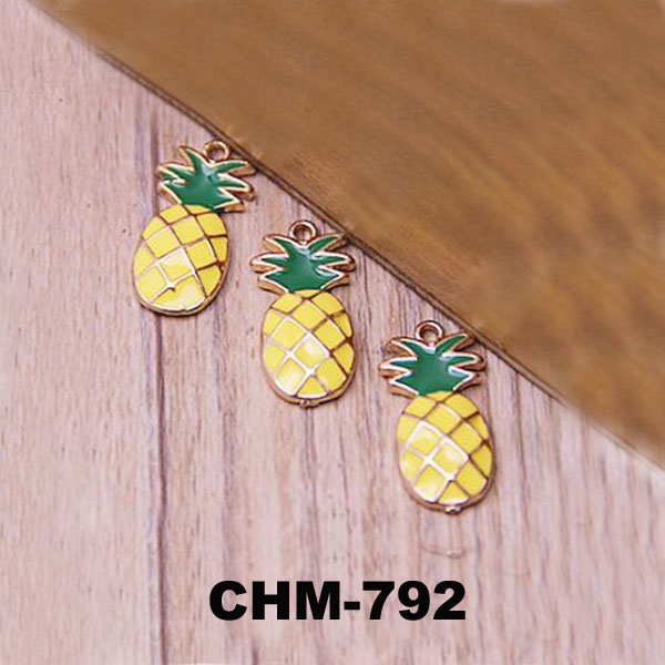 New Arrival wholesale Custom Pineapple Floating Charms, Charms For Bracelet Making, Printed Acrylic Charm Pendant